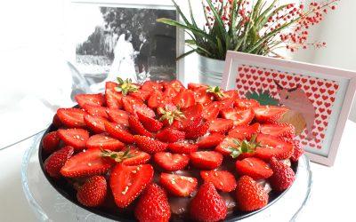 Tarte fine fraises & chocolat